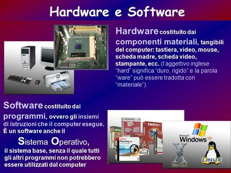 Hardware e Software Hardware costituito dai componenti materiali, tangibili del computer: tastiera, video, mouse, scheda madre, scheda video, stampante,