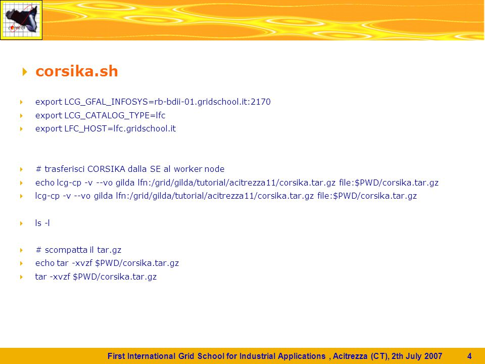 First International Grid School for Industrial Applications, Acitrezza (CT), 2th July 2007 5  # trasferisci nella directory di run e lancia CORSIKA  ls -l  cd $PWD/corsika-6600/run/ ./corsika6600Linux_QGSJET_gheisha < input000028  cd../..