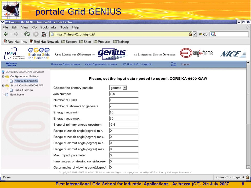First International Grid School for Industrial Applications, Acitrezza (CT), 2th July 2007 9  portale Grid GENIUS