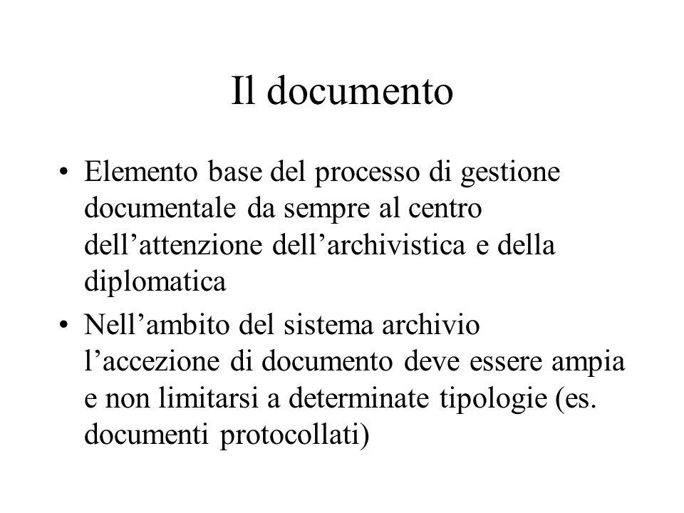 Il documento Elemento base del processo di gestione documentale da sempre al centro dell'attenzione dell'archivistica e della diplomatica Nell'ambito del sistema archivio l'accezione di documento deve essere ampia e non limitarsi a determinate tipologie (es.