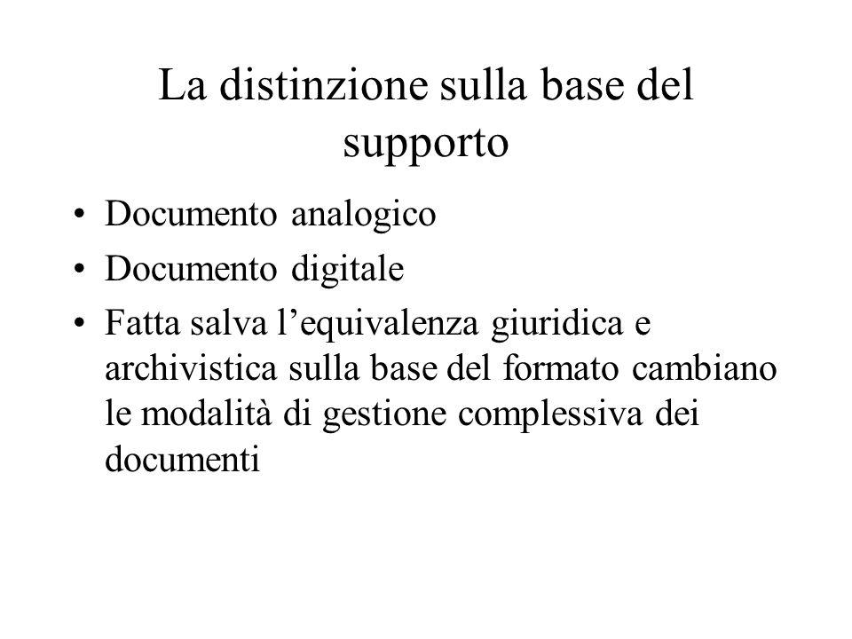 La distinzione sulla base del supporto Documento analogico Documento digitale Fatta salva l'equivalenza giuridica e archivistica sulla base del formato cambiano le modalità di gestione complessiva dei documenti