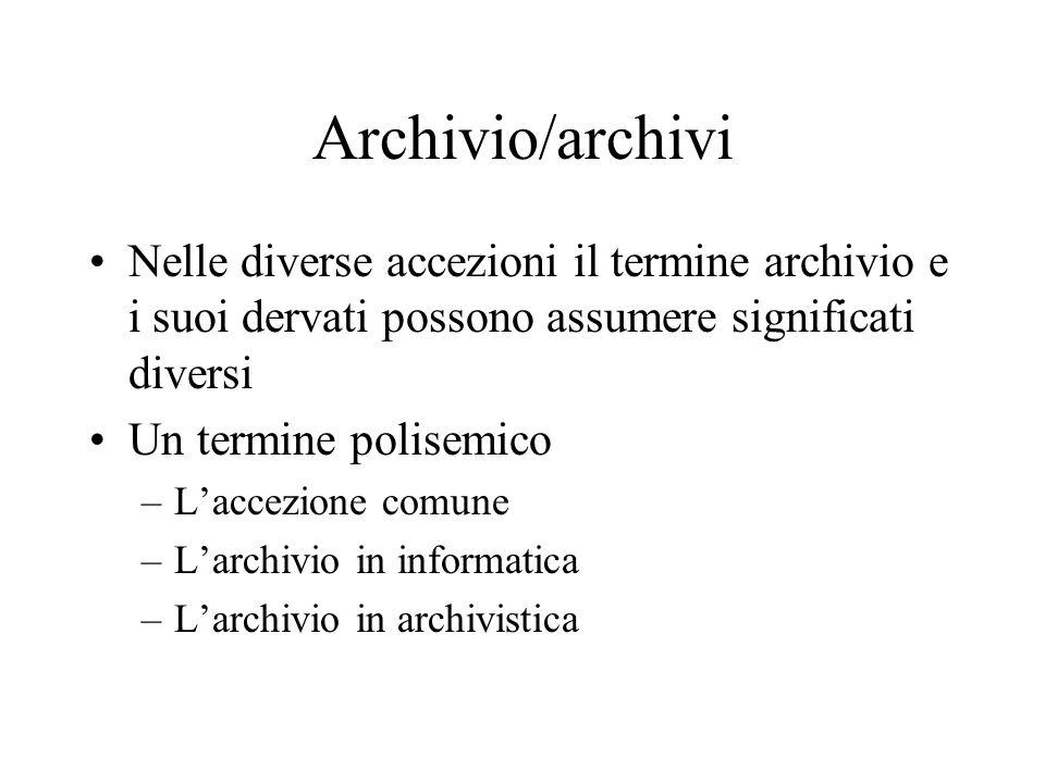 Archivio/archivi Nelle diverse accezioni il termine archivio e i suoi dervati possono assumere significati diversi Un termine polisemico –L'accezione comune –L'archivio in informatica –L'archivio in archivistica