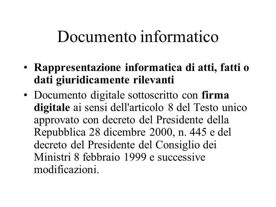 Documento informatico Rappresentazione informatica di atti, fatti o dati giuridicamente rilevanti Documento digitale sottoscritto con firma digitale ai sensi dell articolo 8 del Testo unico approvato con decreto del Presidente della Repubblica 28 dicembre 2000, n.