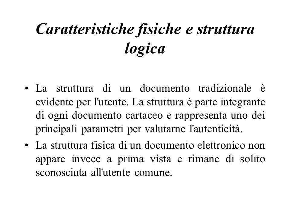 Caratteristiche fisiche e struttura logica La struttura di un documento tradizionale è evidente per l utente.