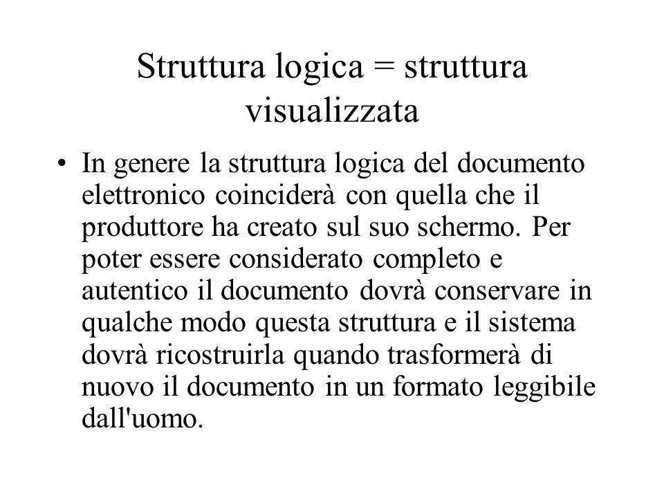 Struttura logica = struttura visualizzata In genere la struttura logica del documento elettronico coinciderà con quella che il produttore ha creato sul suo schermo.