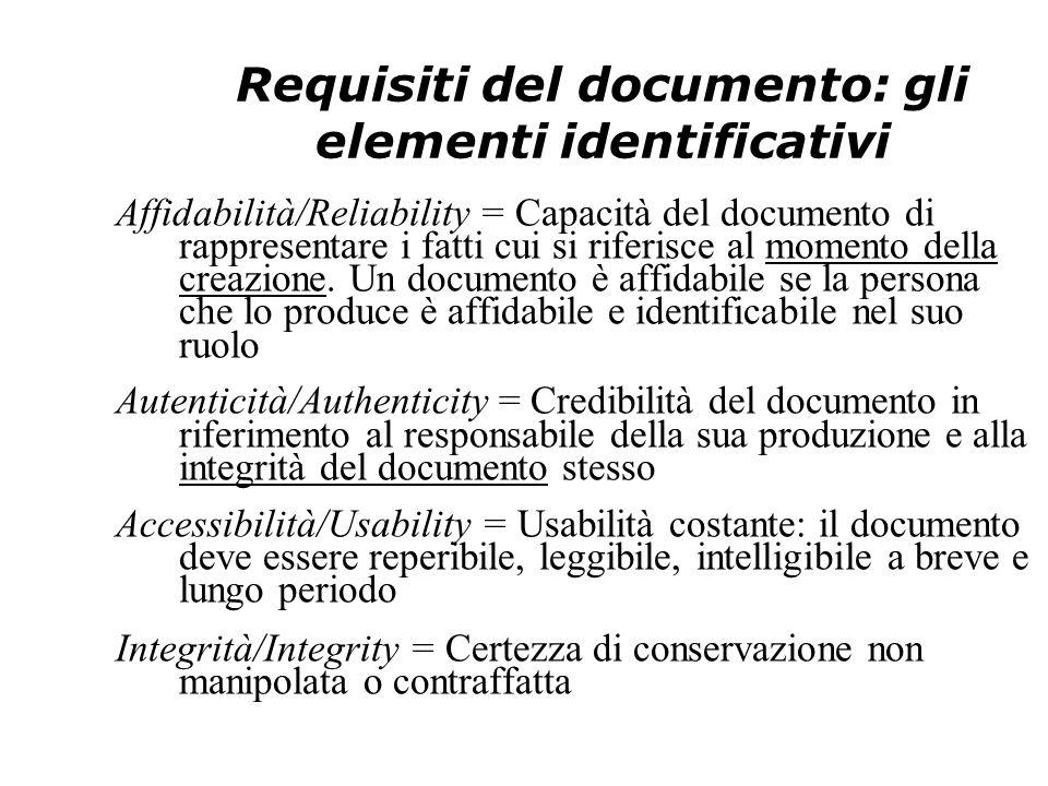 Requisiti del documento: gli elementi identificativi Affidabilità/Reliability = Capacità del documento di rappresentare i fatti cui si riferisce al momento della creazione.