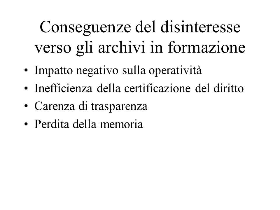 Conseguenze del disinteresse verso gli archivi in formazione Impatto negativo sulla operatività Inefficienza della certificazione del diritto Carenza di trasparenza Perdita della memoria