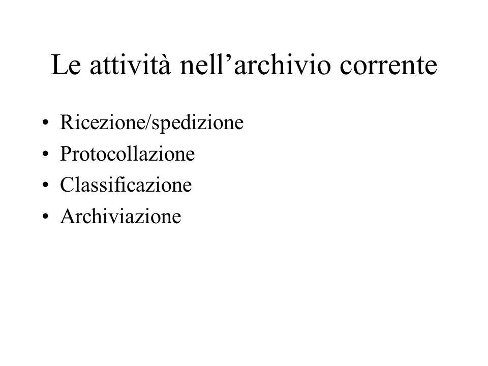 Le attività nell'archivio corrente Ricezione/spedizione Protocollazione Classificazione Archiviazione