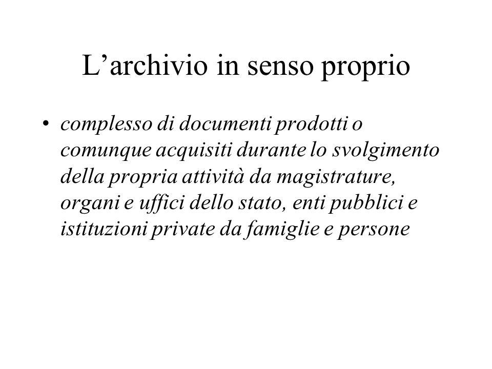 L'archivio in senso proprio complesso di documenti prodotti o comunque acquisiti durante lo svolgimento della propria attività da magistrature, organi e uffici dello stato, enti pubblici e istituzioni private da famiglie e persone