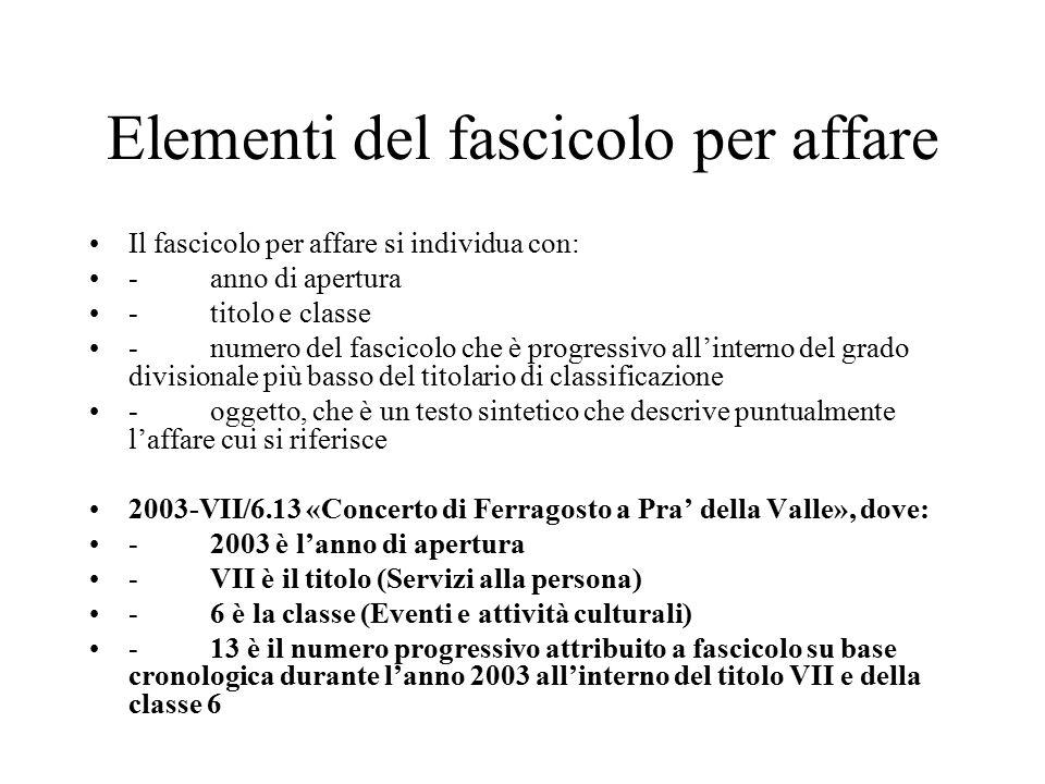 Elementi del fascicolo per affare Il fascicolo per affare si individua con: - anno di apertura - titolo e classe - numero del fascicolo che è progressivo all'interno del grado divisionale più basso del titolario di classificazione - oggetto, che è un testo sintetico che descrive puntualmente l'affare cui si riferisce 2003-VII/6.13 «Concerto di Ferragosto a Pra' della Valle», dove: - 2003 è l'anno di apertura - VII è il titolo (Servizi alla persona) - 6 è la classe (Eventi e attività culturali) - 13 è il numero progressivo attribuito a fascicolo su base cronologica durante l'anno 2003 all'interno del titolo VII e della classe 6