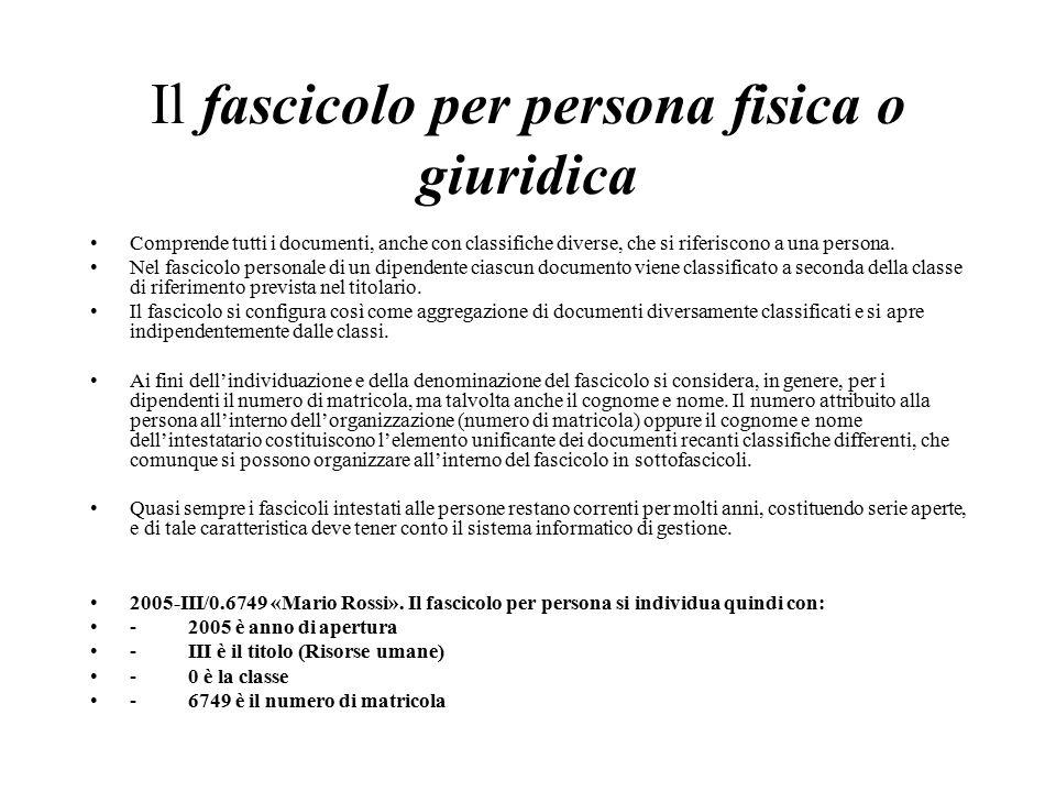 Il fascicolo per persona fisica o giuridica Comprende tutti i documenti, anche con classifiche diverse, che si riferiscono a una persona.