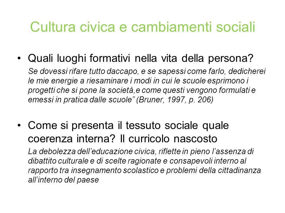 Quale cultura civica: orientamenti cognitivi, affettivi e valutativi verso fenomeni socio-civico- politici l'educazione deve favorire in relazione alle trasformazioni sociali correnti.
