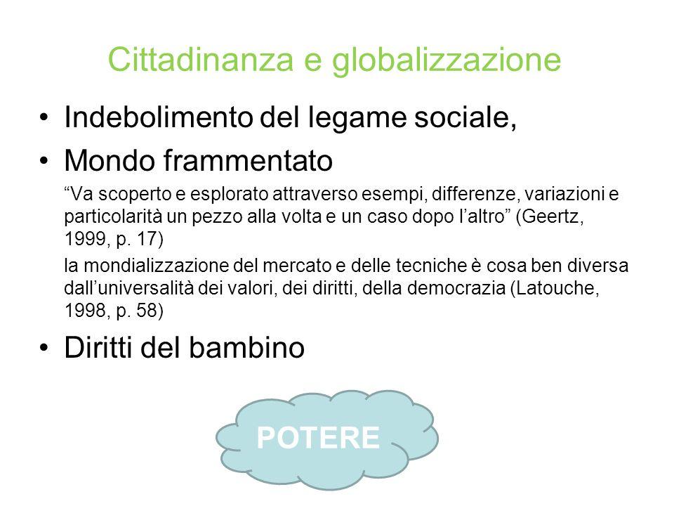 Il legame sociale nel pluralismo Indebolimento del legame sociale la citoyenneté « n est pas une essence donnée une fois pour toutes, qu il importerait de maintenir et de transmettre ».