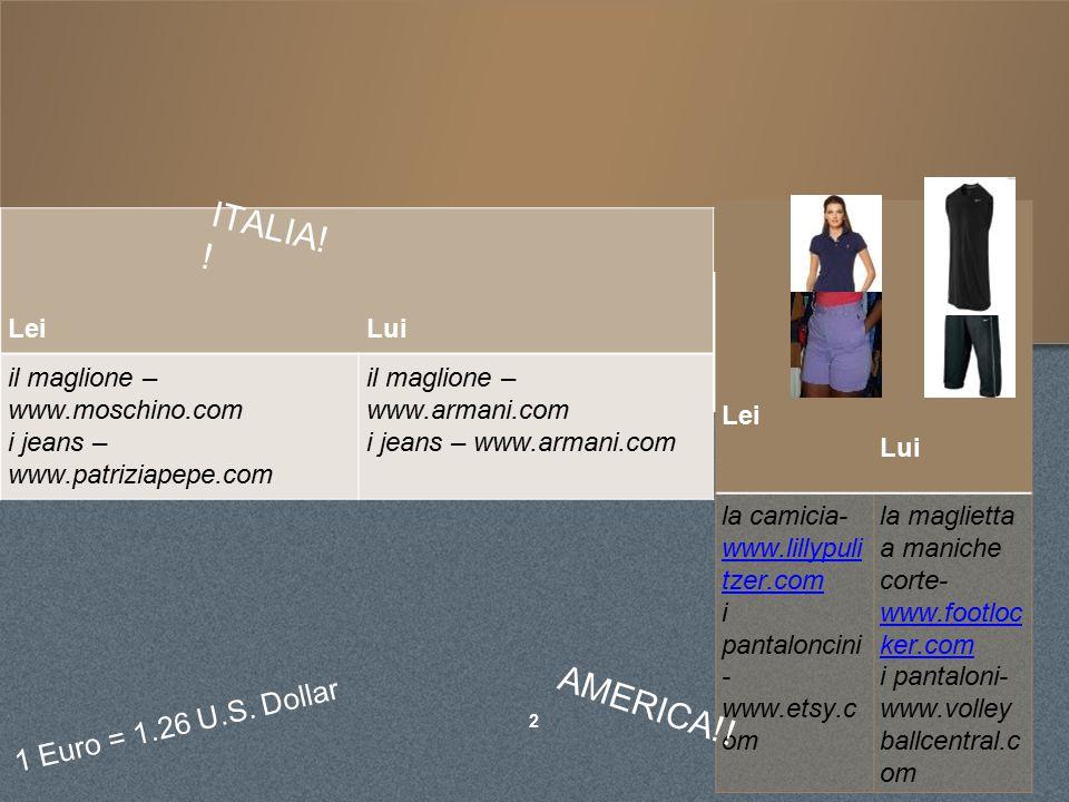 ABBIGLIAMENTO #1 il maglione è: ➢ a tinta unita ➢ rosa ➢ di cotone i jeans sono: ➢ a tinta unita ➢ blu ➢ di cotone LE TAGLIE americanoitaliano XXS34 XS36 S38 M40 L42 XL44 XXL48