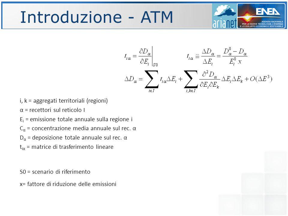 Introduzione - ATM i, k = aggregati territoriali (regioni) α = recettori sul reticolo I E i = emissione totale annuale sulla regione i C α = concentrazione media annuale sul rec.