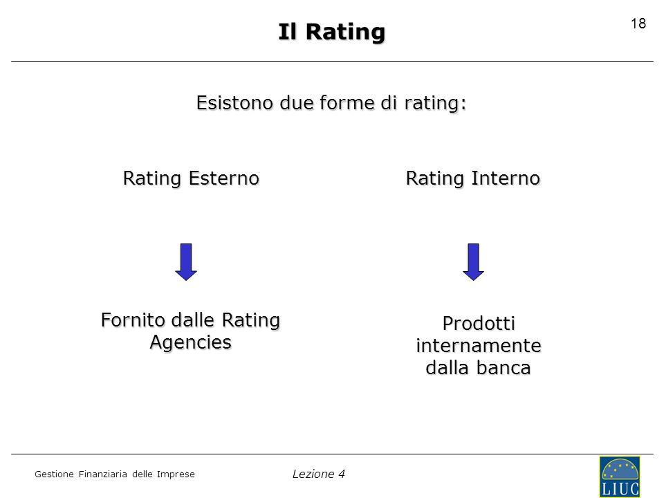 Lezione 4 Gestione Finanziaria delle Imprese 19 Il rating esterno Viene emesso dalle principali rating Agencies (Standard & Poor's; Fitch; Moody's).