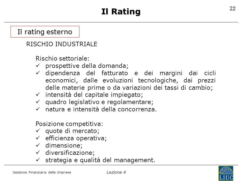 Lezione 4 Gestione Finanziaria delle Imprese 23 Il Rating Il rating esterno RISCHIO FINANZIARIO analisi dei principi contabili; politica finanziaria; redditività; indebitamento finanziario; flessibilità finanziaria.