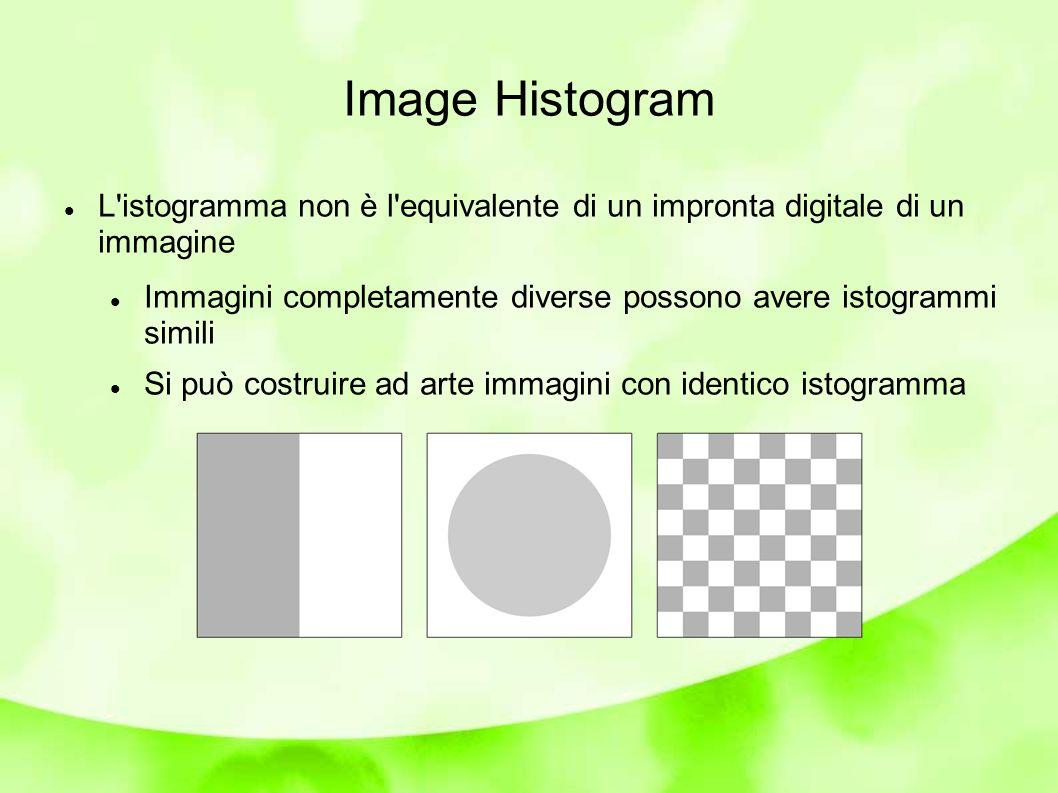 Image Histogram Problemi con l esposizione: Settori di un istogramma inutilizzati, altri con frequenza di valori troppo alta Soprattutto per i valori di luminosità elevata l istogramma rileva problemi di sovraesposizione