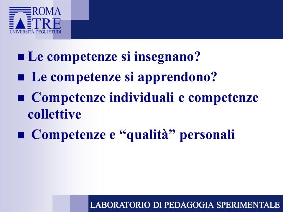 Competenze e competenze chiave  competenze chiave come competenze critiche e importanti  contributo ad una vita realizzata  le competenze chiave non sono da sole sufficienti  le competenze chiave non sostituiscono le competenze specifiche
