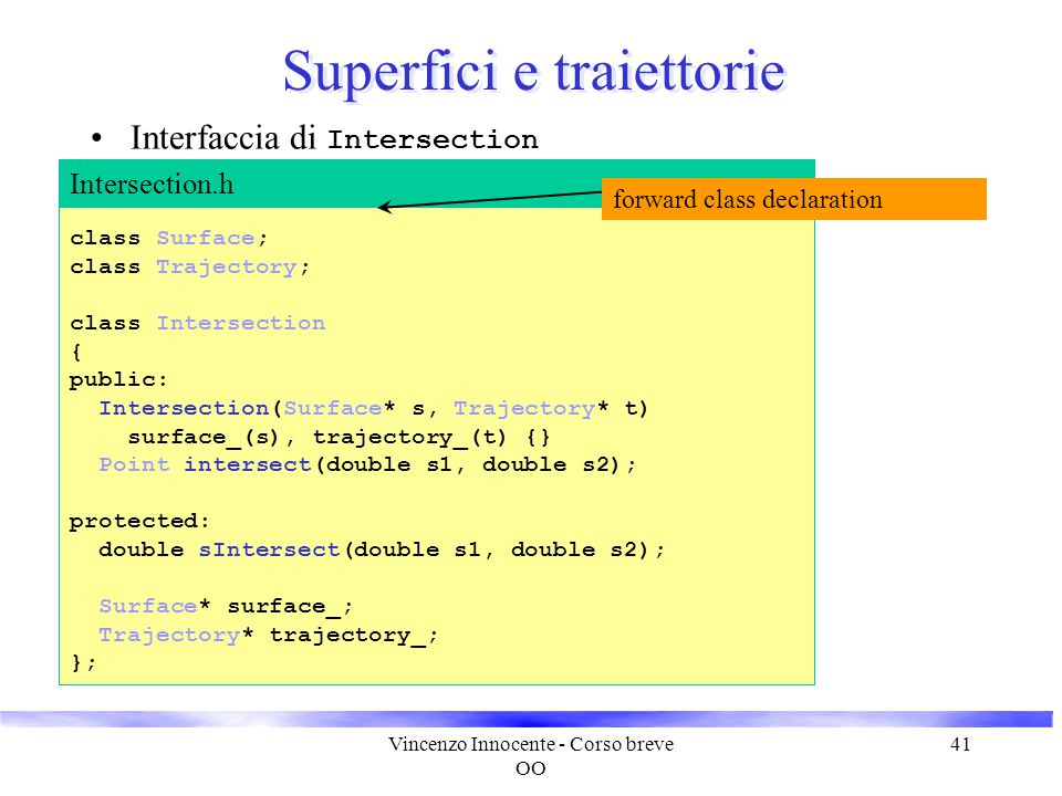 Vincenzo Innocente - Corso breve OO 42 Superfici e traiettorie Implementazione dell'algoritmo #include Intersection.h #include #include Surface.h #include Trajectory.h const int maxIterations 20 const double sMax 1.e+6 const double accuracy1.e-3 double Intersection::sIntersect(double s1, double s2) { // algoritmo di Newton-Raphson double s = s1; double maxS = max(s1, s2); double minS = min(s1, s2); double d, delta; for( int j = 0; j < maxIterations; j++ ) { Point p = _trajectory->position( s ); d = surface_->distance( p ); delta = surface_->derDist( p, trajectory_->direction( s ) ); double ds = - d / delta; double test = s + ds; Intersection.cc // controlla che test è tra s1 e s2 if( (s1 - test) * (test - s2) < 0.0 ) { if ( s1 < s2 ) s += abs( d ); else s -= abs( d ); if( s > maxS || s < minS ) return sMax; } else s = test; if( abs(d) < accuracy ) return s; } return sMax; } Point Intersection::intersect(double s1, double s2) { return trajectory_->position(sIntersect(s1, s2)); }