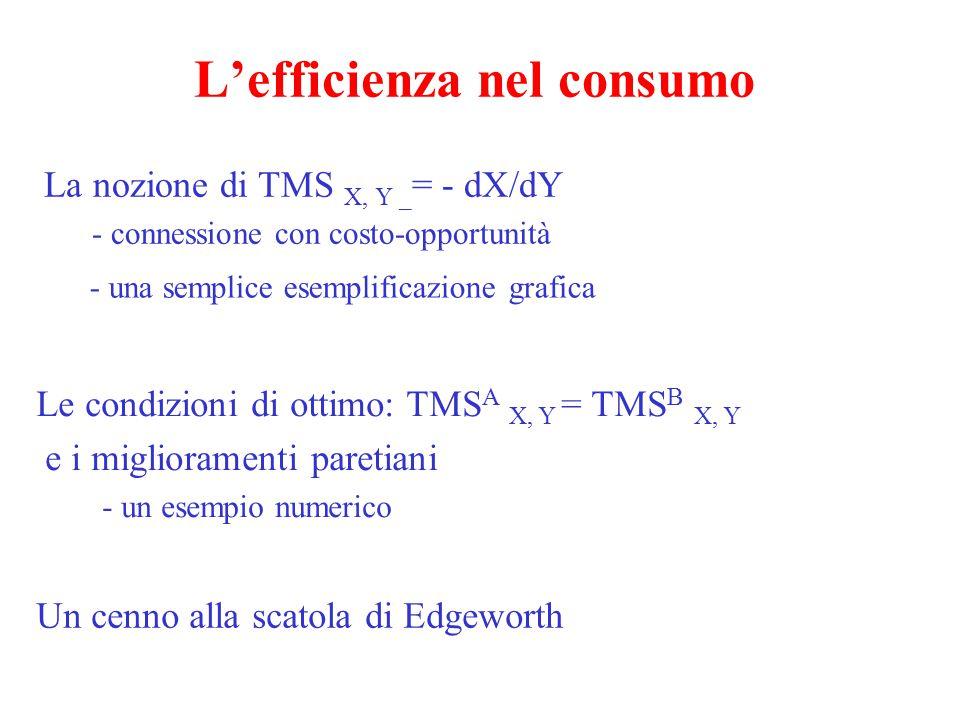 L'efficienza nella composizione del prodotto (1) Un'esemplificazione grafica Condizioni di ottimo: TMT Y,X = TMS a Y,X = TMS B Y,X Un'esemplificazione numerica La questione dell'ottima composizione del prodotto - cosa significa?