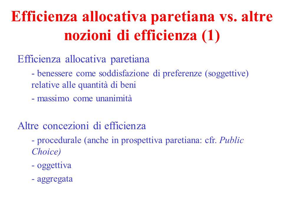 Efficienza allocativa paretiana vs.