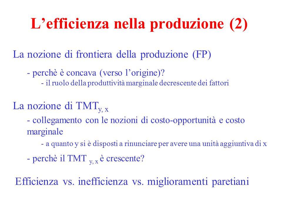 L'efficienza nella produzione (3) Un breve rimando al collegamento con l'allocazione dei fattori produttivi - la nozione di TMST K,L L'efficienza nella allocazione dei fattori produttivi: TMST x K,L e TMST y K,L - un esempio numerico Un cenno alla scatola di Edgeworth