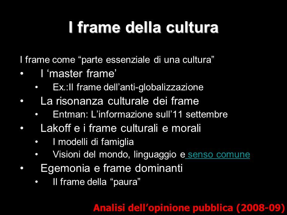 I frame dei media 1) Salienza Entman (1993) -> ex.: Fallujah Framing implica essenzialmente selezione e salienza.