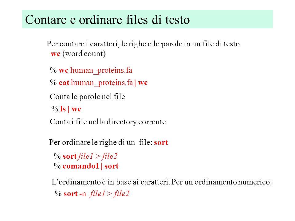 Ricerca di parole e pattern: grep % grep hypothetical human_proteins.fa Cerca la parola 'hypothetical' in un file di testo La ricerca è case sensitive.