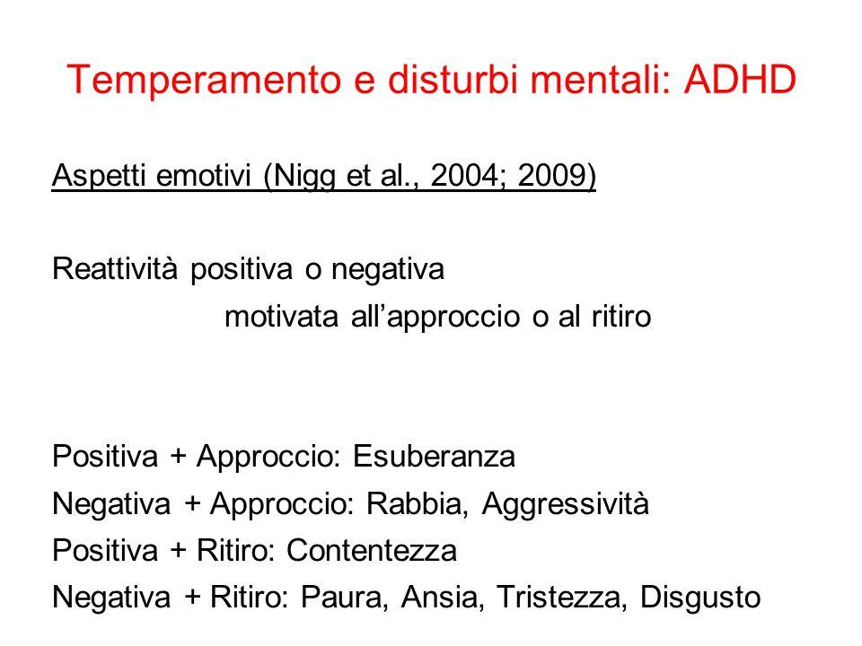 Temperamento e disturbi mentali: ADHD Regolazione = Regolazione emotiva (Martel, 2009) 3 ambiti temperamentali: 1.Emozionalità positiva (iperattività/impulsività) 2.Emozionalità negativa (iperattività, impulsività, condotta, O/P) 3.Controllo e regolazione (disattenzione)