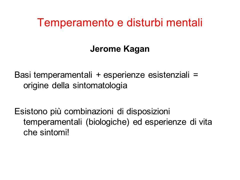 Temperamento e disturbi mentali Suscettibilità temperamentale >> evento precipitante (andare via di casa) >> background culturale (es.