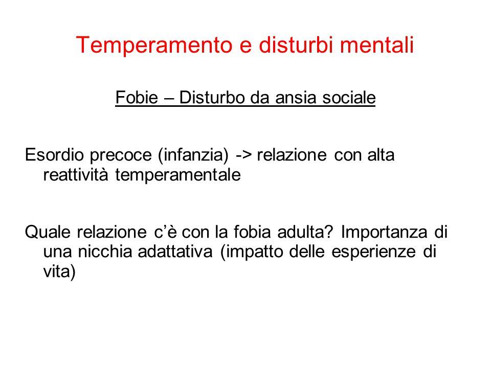 Temperamento e disturbi mentali Mc Hugh 4 famiglie di disturbi: 1.