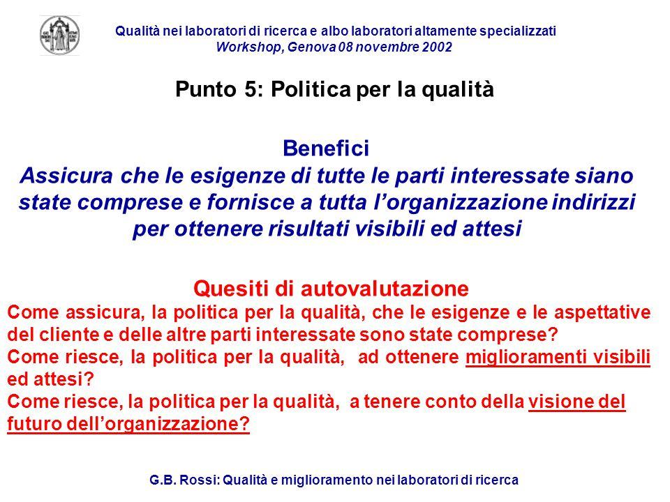 Qualità nei laboratori di ricerca e albo laboratori altamente specializzati Workshop, Genova 08 novembre 2002 G.B.