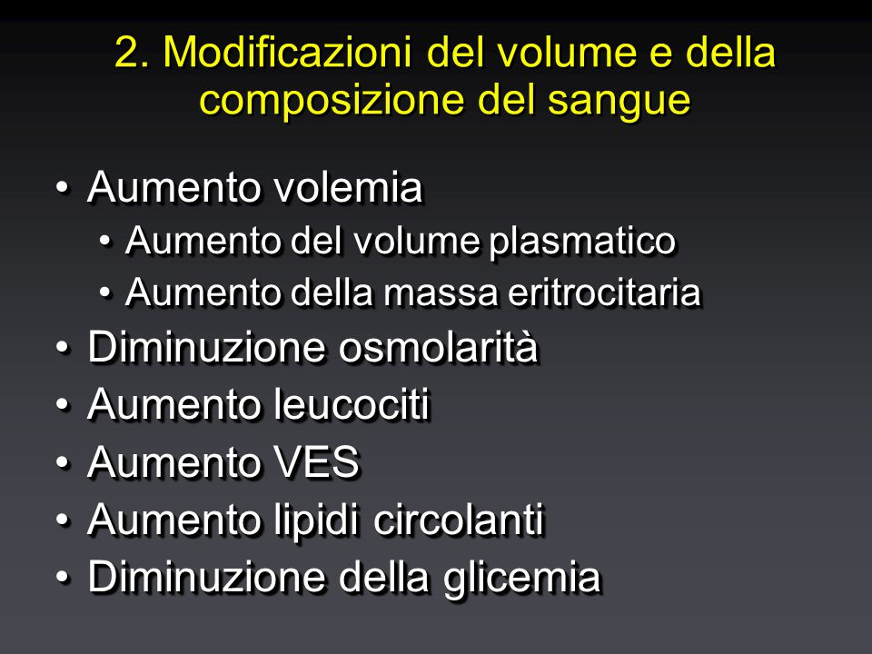 Modificazioni del volume e della composizione del sangue in gravidanza
