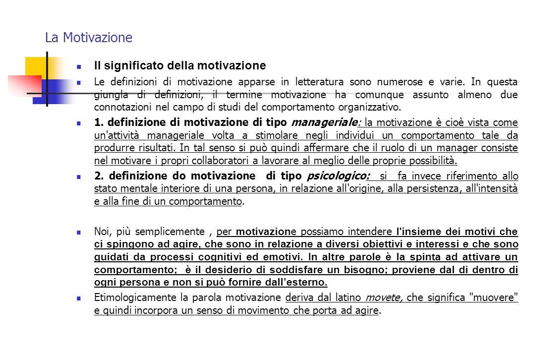 La Motivazione Il significato della motivazione La motivazione è la spinta ad attivare un comportamento E' il desiderio di soddisfare un bisogno Proviene dal di dentro di ogni persona Non si può fornire dall'esterno
