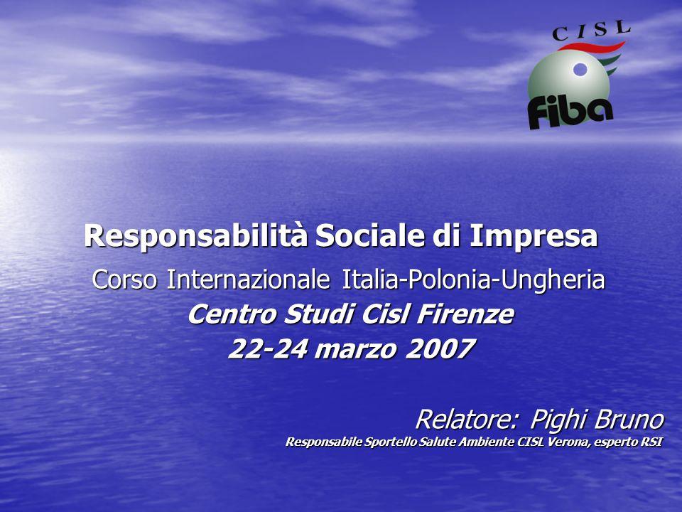 Responsabilità sociale d'impresa (RSI o CSR) l'integrazione volontaria delle preoccupazioni sociali ed ecologiche delle imprese nelle loro operazioni commerciali e nei rapporti con le parti interessate.