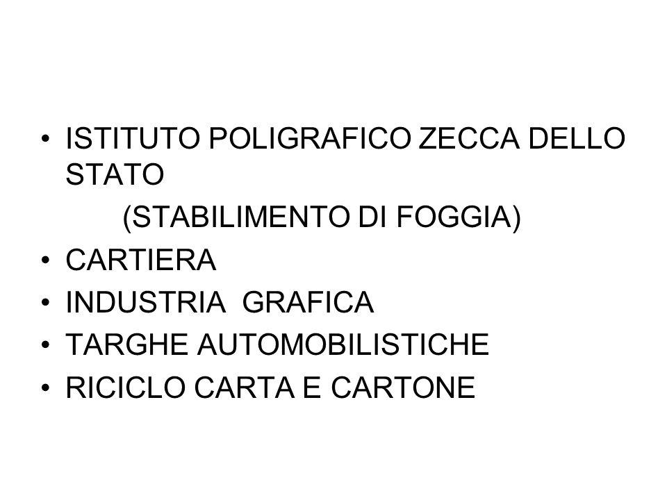 ISTITUTO POLIGRAFICO ZECCA DELLO STATO (STABILIMENTO DI FOGGIA) FINO AL 1985 PRODUCEVA CLORO GAS NELLE TORRI DI CLORAZIONE A PARTIRE DA NACL DAL 1986 IMPIEGO DI IPOCLORITO DI SODIO (APPROVVIGIONAMENTO DALL'ESTERNO)