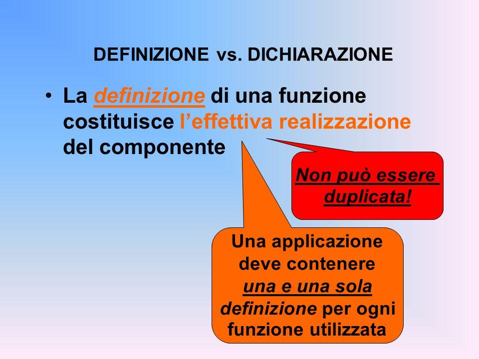 La definizione di una funzione costituisce l'effettiva realizzazione del componente DEFINIZIONE vs.
