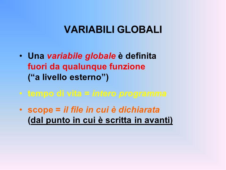 ESEMPIO int trentadue = 32; float fahrToCelsius( float F ){ float temp = 5.0 / 9; return temp * ( F - trentadue ); } Definizione (e inizializzazione) di una variabile globale