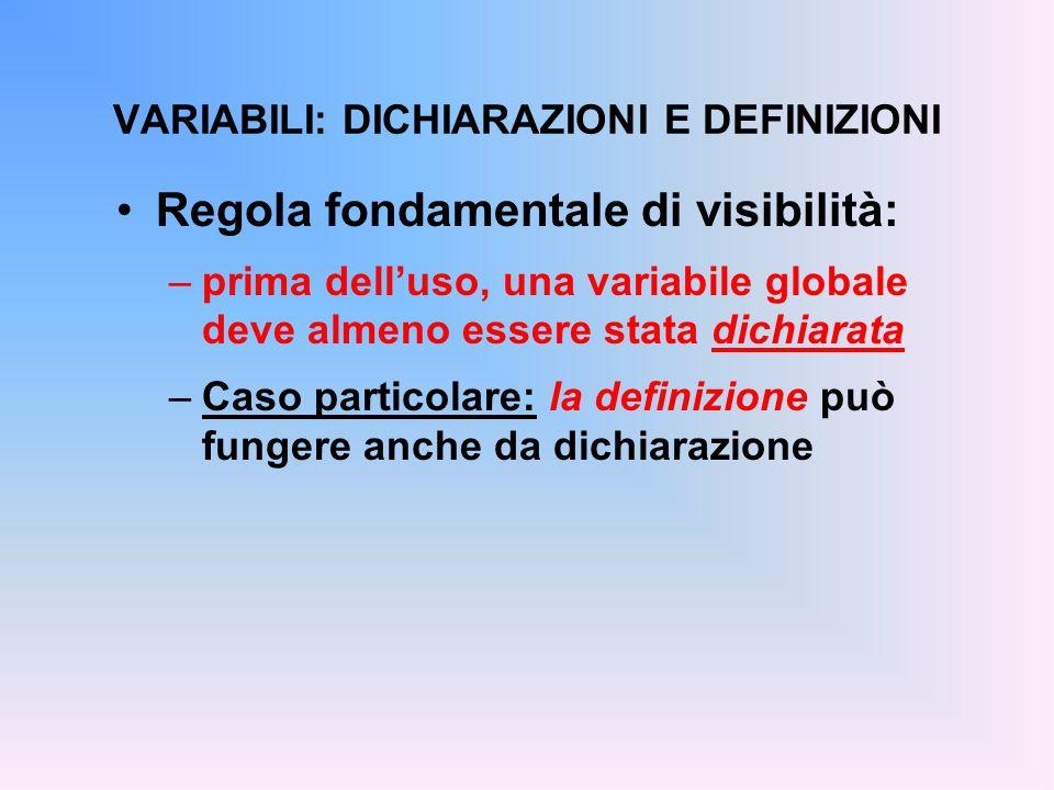 int trentadue = 32; float fahrToCelsius(float); main() { float c = fahrToCelsius(86); } float fahrToCelsius(float f) { return 5.0/9 * (f-trentadue); } ESEMPIO Definizione (e ini- zializzazione) della variabile globale File prova3.c Uso della var.glob.