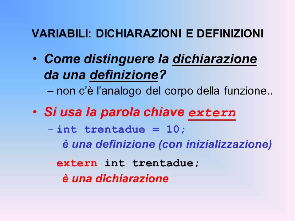 extern int trentadue; float fahrToCelsius(float f) { return 5.0/9 * (f-trentadue); } main() { float c = fahrToCelsius(86); } int trentadue = 32; ESEMPIO Dichiarazione variabile globale File prova4.c Uso della var.glob.