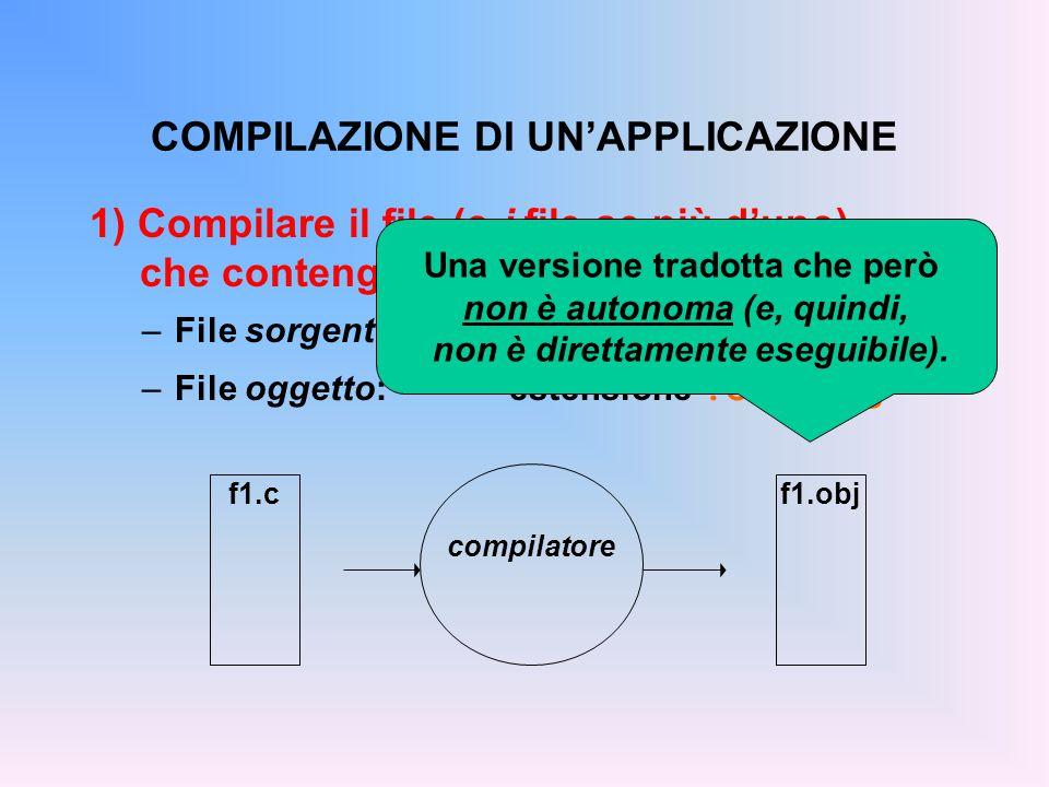 2) Collegare il file (o i file) oggetto fra loro e con le librerie di sistema –File oggetto:estensione.o o.obj –File eseguibile:estensione.exe o nessuna COLLEGAMENTO DI UN'APPLICAZIONE prog.exe f1.obj LIBRERIE DI SISTEMA linker Programma eseguibile