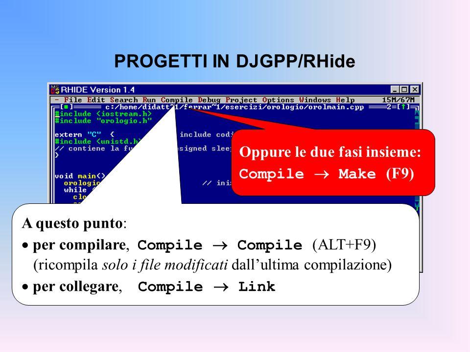 PROGETTI IN TURBO C Dal sceglie il menù Project  New Project, (oppure l'icona in alto)...