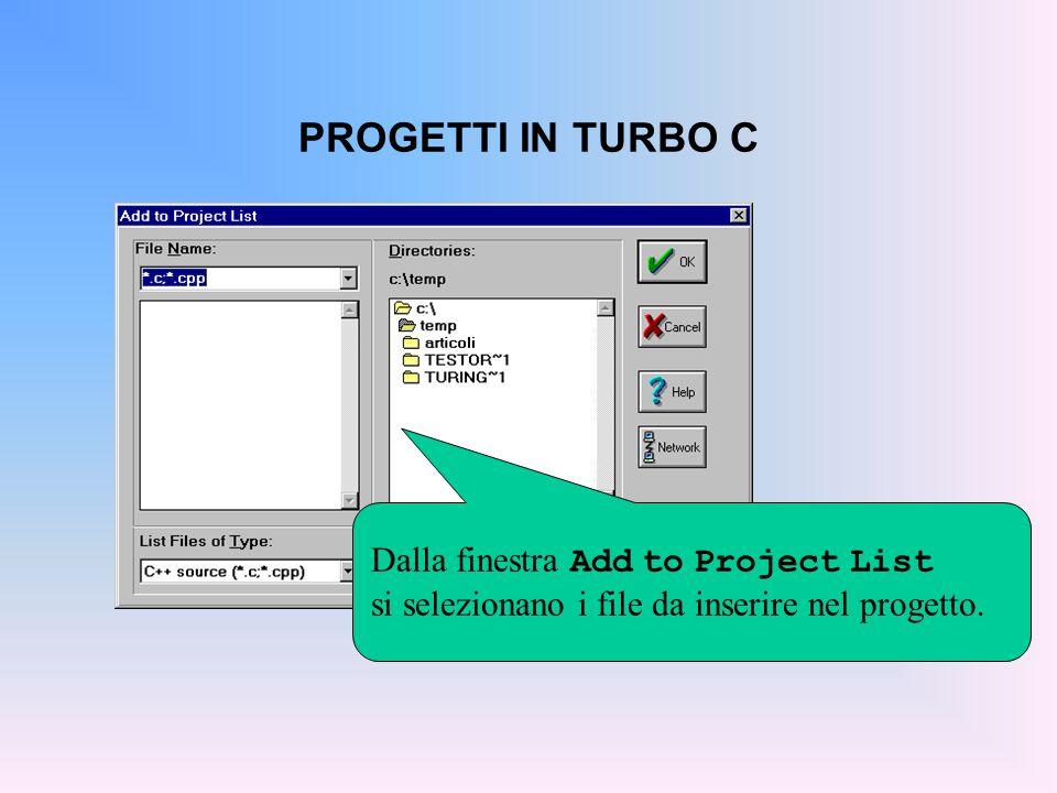 PROGETTI IN TURBO C Facendo doppio clic su un nome di file (ad esempio, aaa.c ) si apre l'editor per modificarlo.