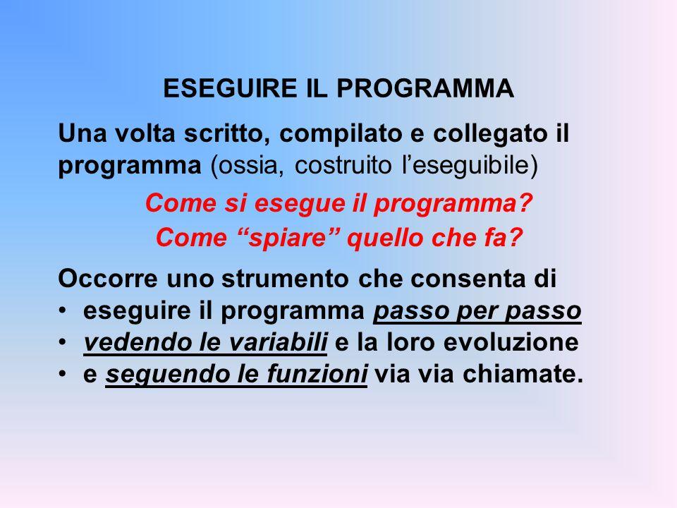 Una volta scritto, compilato e collegato il programma (ossia, costruito l'eseguibile) Come si esegue il programma.