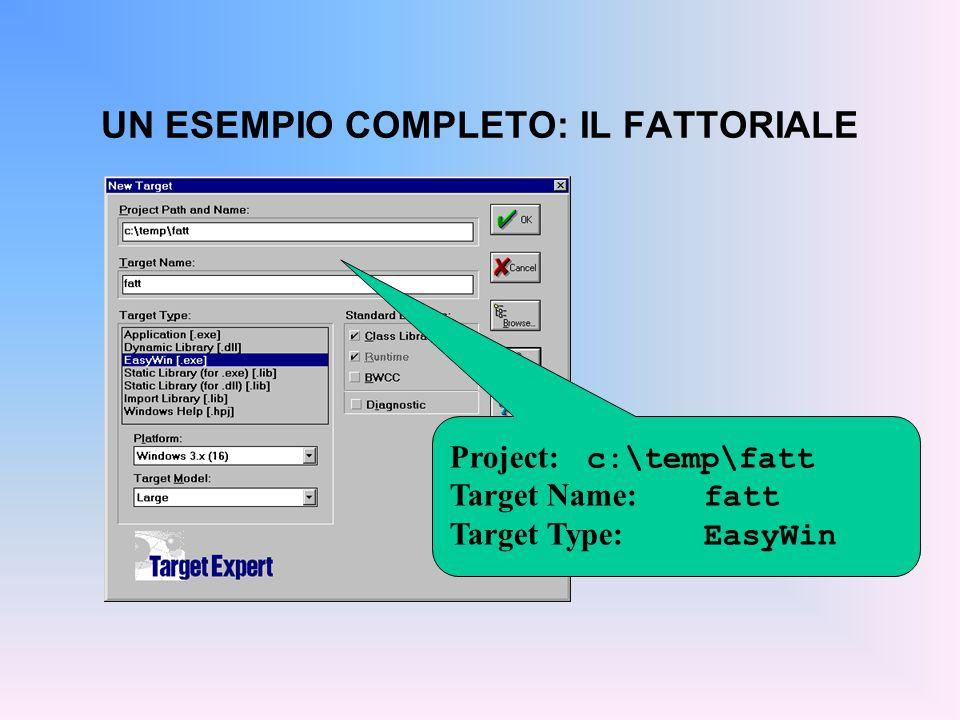 ESEMPIO: IL FATTORIALE Source node: fatt.c