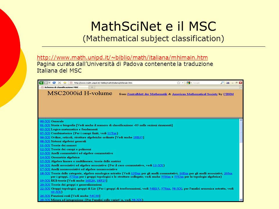 MathSciNet e il MSC Es.