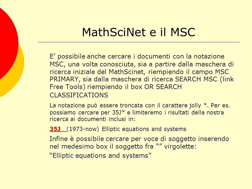 MathSciNet e il MSC A cosa serve MSC.
