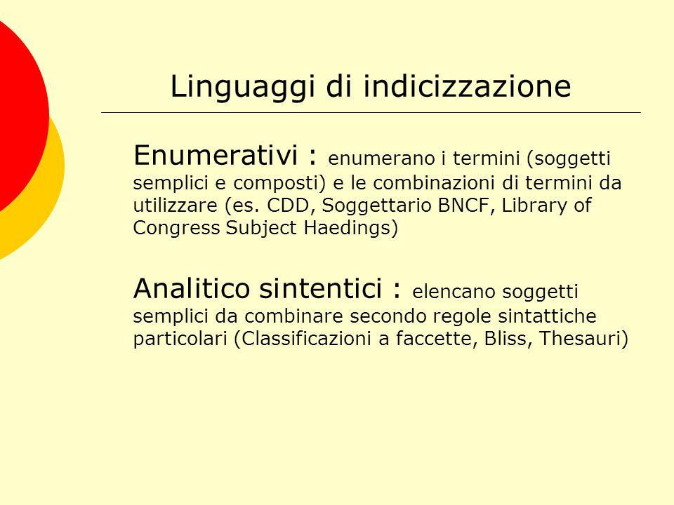 A cosa serve un TESAURO Il tesauro ha una funzione di controllo semantico del linguaggio di indicizzazione al fine di favorire il recupero dell'informazione.