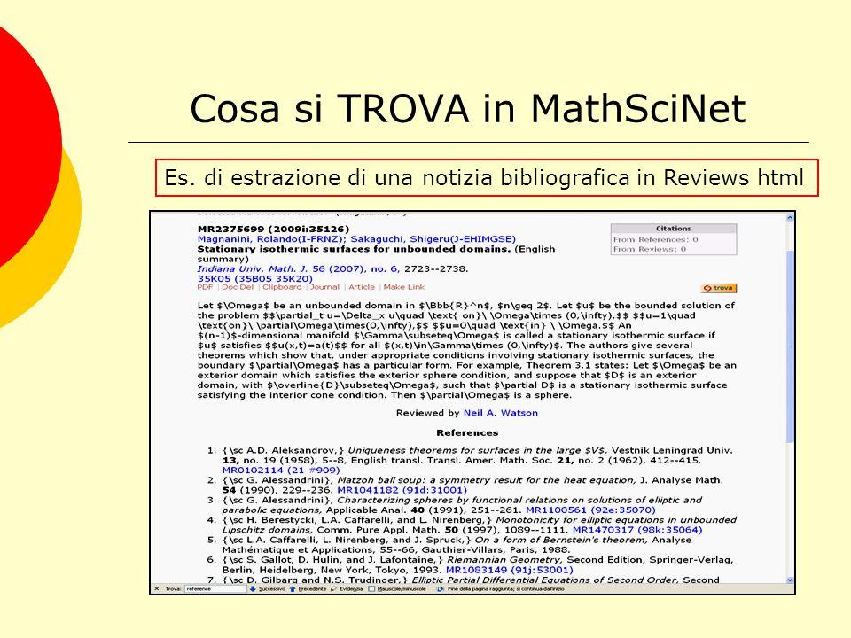 Cosa si TROVA in MathSciNet Es. di estrazione in Citations EndNote
